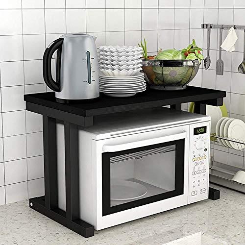 Forno a microonde rack doppia estensione orizzontale cucina mensola multifunzione cucina rack di stoccaggio in acciaio inox montare XMJ (colore : lavagna+telaio nero)