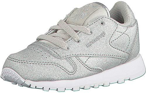 Reebok Cl LTHR Syn, Baskets Mixte bébé, Multicolore-argenté/Gris/Blanc (Diamond-Silver Met/Snow Grey/White), 22