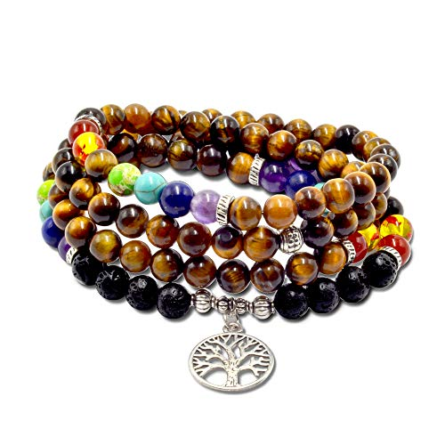 Essential Oil Diffuser Bracelet- Lava Stone Bracelet- Aromatherapy 7 Chakra Bracelet- Healing Stones Anxiety Bracelet- Add Oil To Beads To Improve Focus & Mood (Tiger Eye Chakra Mala)