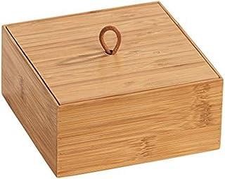 WENKO Boîte avec couvercle en bambou Terra M - Boîte de rangement, panier de salle de bain, Bambou, 15 x 7 x 15 cm, naturel