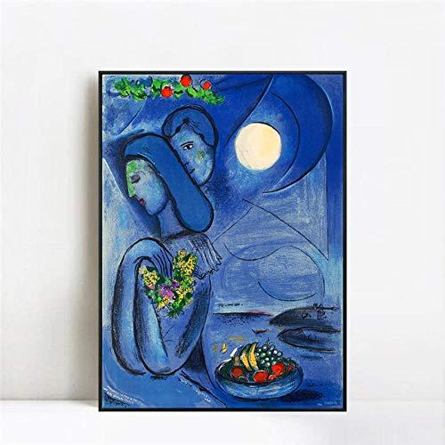WJY Dream by Marc Chagall Poster und Kunstdrucke Kunst Leinwandbilder Wandbilder Home Decoration Cuadros 60cm x90cm Kein Rahmen