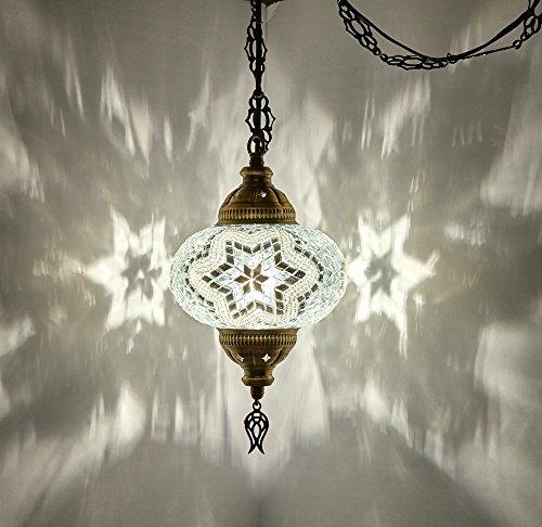DEMMEX - Lámpara de techo colgante de mosaico turco marroquí con cableado o Swag