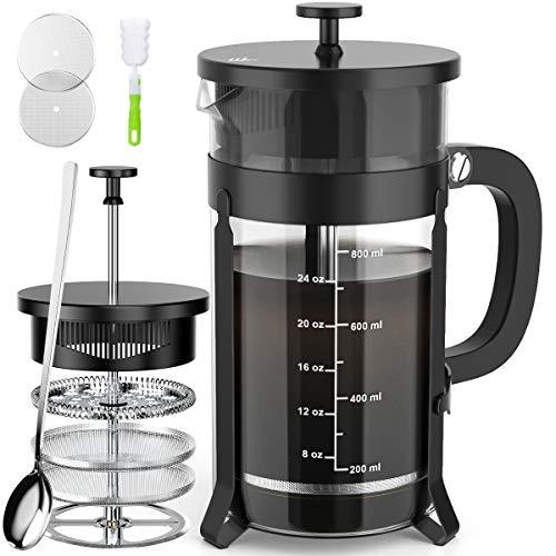 French Press コーヒー&ティーメーカー (34オンス) 304ステンレススチール コーヒープレス フィルター4枚付き - 100% 残留物なし - ドイツ耐熱ホウケイ酸ガラス - BPAフリー - 食器洗い機可 ブラック