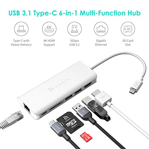 ADAM elements 6-in-1 USB C Hub - 4K USB C to HDMI - 60W USB C PD - SD Card Reader - 2 USB 3.1 Ports - Portable, Durable Aluminum Case