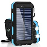 Waterproof Solar Power Bank 10000mah Solar Battery Charger Bateria Externa Portable Charger Powerbank with LED Light Compass (Blue)