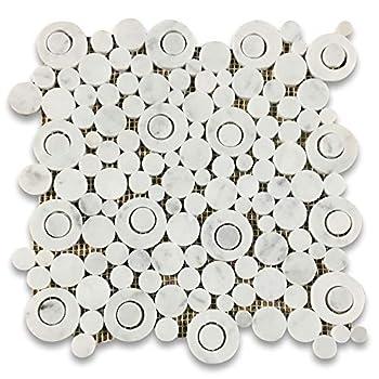 Stone Center Online Carrara White Marble Circle Bubble Mosaic Tile Polished for Kitchen Backsplash Bathroom Flooring Shower Surround Dining Room Entryway Corrido Spa  1 Sheet