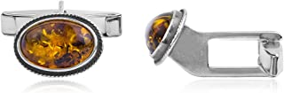 Amber Sterling Silver Oval Cuff Links