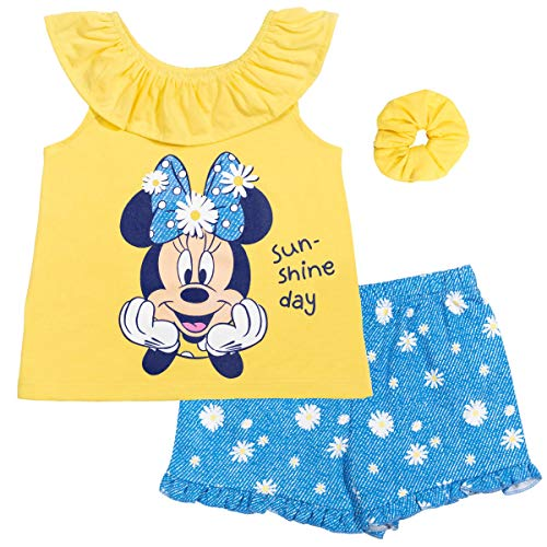 Disney Minnie Mouse Baby Girls T-Shirt French Terry Shorts Set Yellow 12 Months