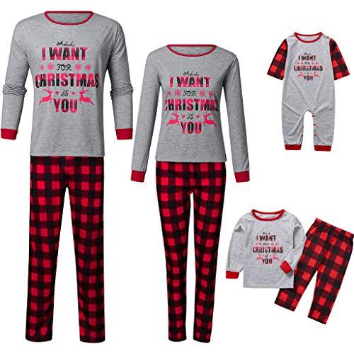 riou Pijamas Familiares de Navidad Ropa de Dormir Camisas de Manga Larga + Pantalones Largos para Bebés Mamá Papá Homewear Sleepsuit