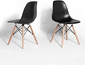 Black Shell Dining Chair - Mid-Century Modern Eames DSW - Set of 2