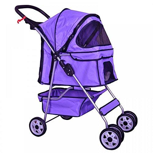 Pink 4 Wheels Pet Stroller Cat Dog Cage Stroller Travel Folding Carrier 04T