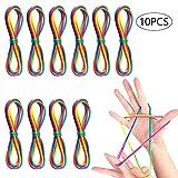Faburo 10PCS Cats Cradle Corde Jeu de Ficelle Corde à Doigts Rainbow Rope Rainbow Toy Fingertwist Jeu élastique Enfant Doigt