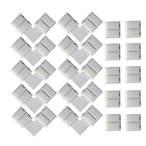 CESFONJER 20 PCS Conectores Tiras Led, Incluir 10 PCS 4 pin L-Format Conectores, 10 PCS 4 pin LED Strip Conector para 5050 Monocolor y Tira RGB 10mm ancho.