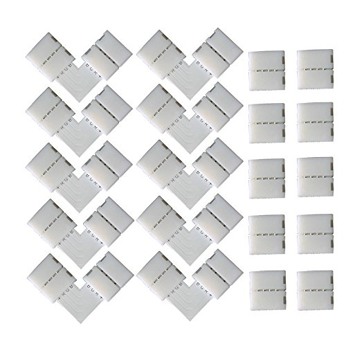 CESFONJER 10 PCS en Forme de L Raccord d'angle de Raccord Rapide LED 4 Pin, 10 PCS 4 Pin LED Bande de Connecteur, pour les Strip LED SMD 5050 RGB de 10mm de large (Blanc)