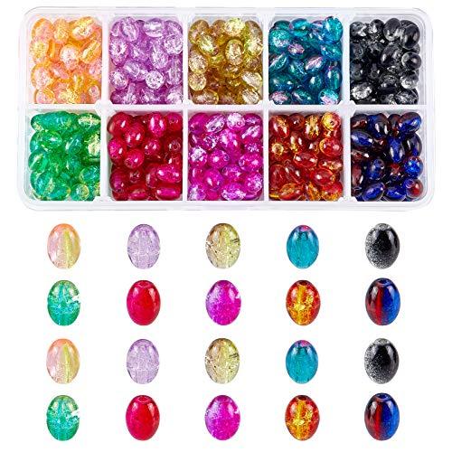 SUPERFINDINGS 400~500 Uds 10 Colores Cuentas de Vidrio Ovaladas de 8x5.5~6mm Cuentas de Cristal Crujientes Transparentes para Pulsera, Collar, Pendientes, Fabricación de Joyas