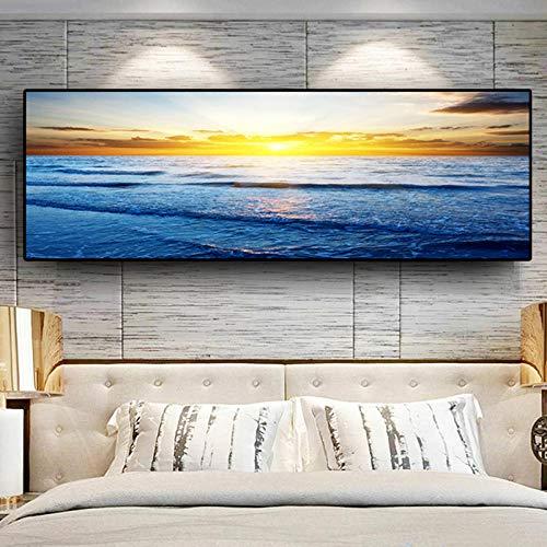 WADPJ luifel natuur oceaan strand panorama landschap canvas Scandinavisch schilden afdrukken muur foto woonkamer decoratie 50 x 150 cm x 1 stuk zonder lijst