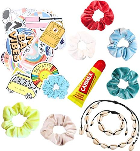 VSCO girls set producten scrunchies velvet - stickers - schelpen ketting zwart - choker - schelpenarmband / enkelbandje - verstelbaar - Carmex lippen balsem - meisjes - VSCO girl stickers - cadeau - haarelastiek - lip balm - Kraagjeskopen.nl