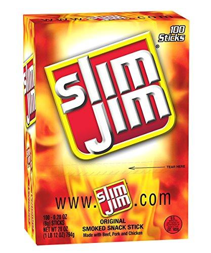 Slim Jim Smoked Snack Sticks, Original,28-Oz Total (Pack of 100)