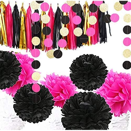 Fonder Mols Bachelorette Party Decorations Black And Hot Pink