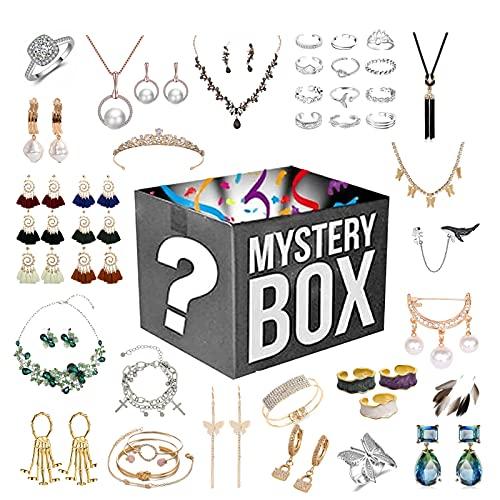 Joyas Lucky Boxes-Mystery Boxes, Caja de ciegos misteriosos, Dése una sorpresa, estilo aleatorio, posibilidades de obtener: Anillos Collares Pulseras Pulseras Cadena de suéter Broches y otros accesori