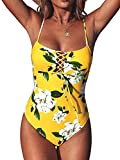 CUPSHE Women's One Piece Swimsuit Yellow Floral Print Lace Up Bathing Suit, M