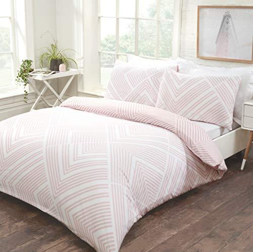 Sleepdown Juego de Funda de edredón Reversible de fácil Cuidado, con Fundas de Almohada, tamaño King (220 x 230 cm), Color Rosa