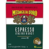 Medaglia D'Oro Dark Italian Roast Espresso Coffee, 10 Count Capsules for Espresso Machines, 11 Intensity