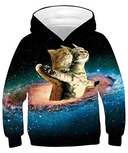 ALISISTER Jungen Mädchen Hoodie 3D Neuheit Space Katze Grafik Kapuzenpullover Sweatshirt Unisex Kinder Langarm Hoody Kapuzensweatshirt mit Taschen (M=8-10 Jahre)