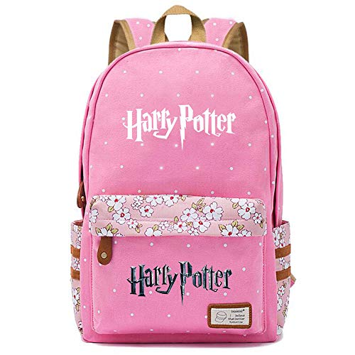 NYLY Mochila Floral para niñas Mujeres Moda Citas Compras Mochila de Viaje Cuaderno Mochilas Informales, Paquete de la Serie Harry Potter M (Rosado) Estilo-12