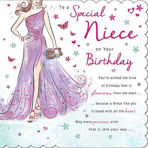 Traditionelle Geburtstagskarte für Nichte, 223 mm, quadratisch, Piccadilly Greetings