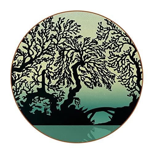 Posavasos Originales Ribera del árbol Juego de 6 Posavasos para Regalo Antideslizante Protección de Mesa Coasters para Bebidas frías y Calientes, Café, Vasos, Tazas 11cm