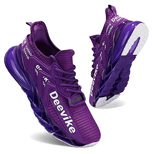 Zapatillas Deportivas de Mujer Zapatos Mujer Calzado Deportivo de Exterior de Mujer para Correr Zapatillas Casual Sneakers Morado Blanco-42
