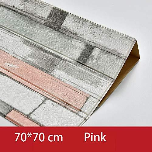 SMXGF 3D houten Sticker Muur Woondecoratie PE Foam Waterdichte behangen Zelfklevend Wallpaper for Woonkamer Slaapkamer 3D Wall Panel (Color : Pink wood grain)