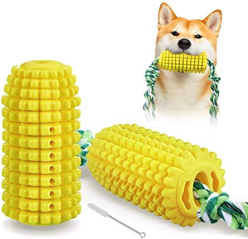 Focuspet Giocattolo da Masticare Resistente a Forma di Mais per Cani, Resistente ai Morsi con Corda, per La Pulizia degli Animali Domestici e Spazzolino da Denti da Masticare per Cani
