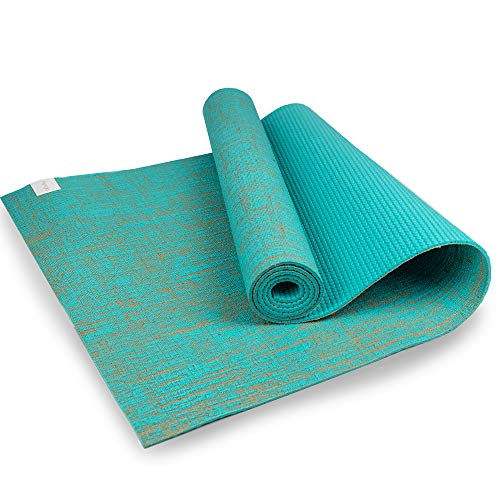 Myga RY1332 - Esterilla de yoga de yute para suelo vegano de alto rendimiento, esterilla de yoga ecológica biodegradable con respaldo de PVC, 5 mm de grosor, color azul