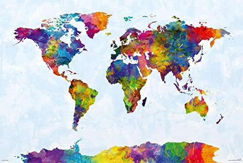 Póster Mapa del Mundo en Acuarelas - Michael Tompsett (91,5cm x 61cm) + 1 Póster con Motivo de Paraiso Playero
