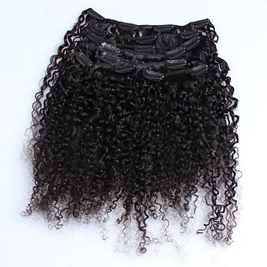 MZP 8a pincée de cheveux vierge mongolienne courbée aux extensions de cheveux humains couleur naturelle , 12 inch