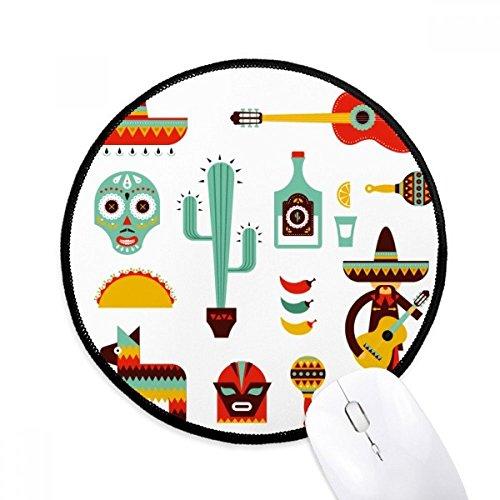 Sombrero Tequila Gitarre Chili Mexiko Elment Runde rutschfeste Mousepads Schwarz genähte Kanten Game Office Geschenk