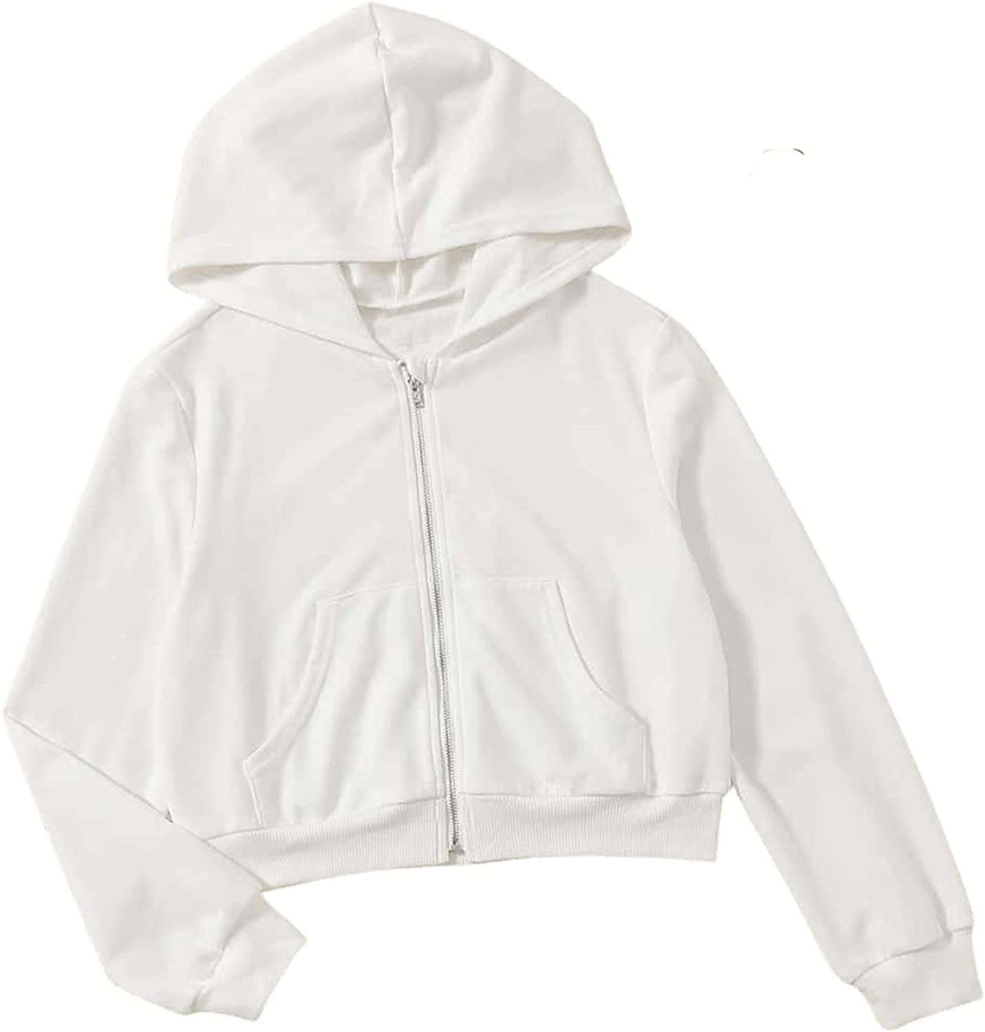 Floerns Women's Casual Long Sleeve Zip Up Cropped Hoodie Jacket with Pockets White
