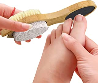 Lima para pies de piedra pómez | removedor de callos de acero inoxidable | Cepillo de uñas de cerdas suaves | Recarga granos 4 en 1 mango de madera, la forma natural removedor de piel dura