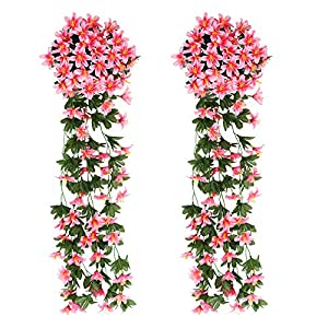 XHXSTORE 2Pcs Artificial Flowers Silk Flower Artificial Wisteria Plant Pink Garland Ivy Vine Fake Hanging Vine Flowers for DIY Home Balcony Basket Garden Party Wedding Wall Decor