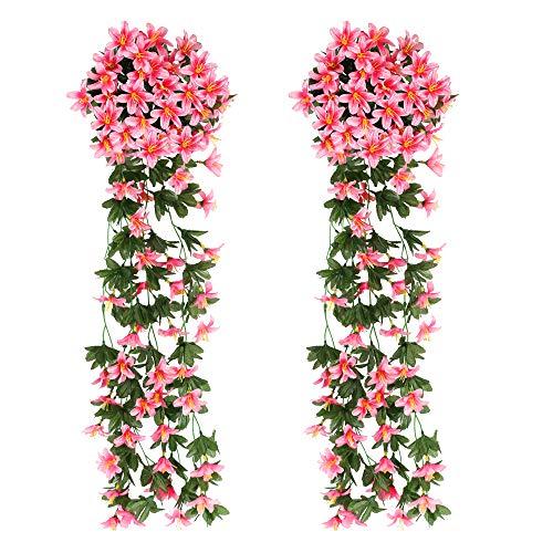 XHXSTORE 2Pcs Kunstblumen Hängend Kunstpflanze Rosa Künstliche Blumen Lilie Blumengirlande Hängend Reben für Balkon Draußen Drinnen Garten Wand Dekoration