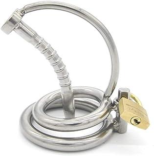 WCJ Men's Stainless Steel Ware Urinary Catheter Penis Lock Penis Lock Stimulation Flirting Comfort Massage JJ Cage T-Shirt (Size : 4cm)