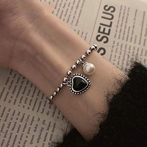 siqiwl Pulsera mujer de plata esterlina pulsera de cadena de cuentas INS moda simple corazón negro perla colgante elegante novia joyería regalos