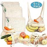 Sacs Réutilisables en Coton à Fruits et Légumes, Sacs à provisions Durable et Lavable Double Piqué avec étiquette, Ensemble de 8 (S*2, M*2, L*2, Sac à provisions*2)