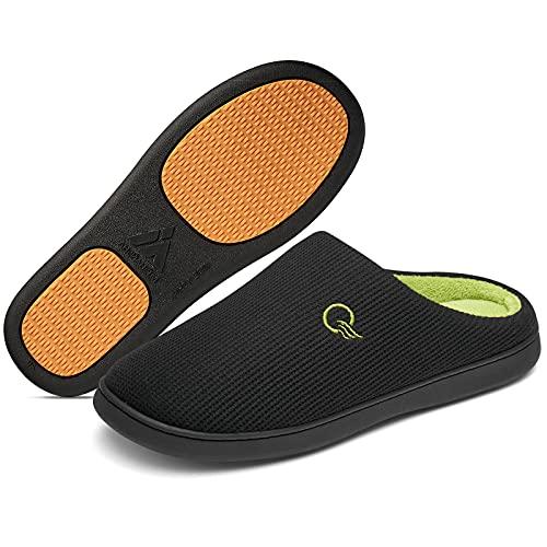 Womens Mens Comfort Slippers Fleece Lining Memory Foam House Slippers Indoor Outdoor Shoes Non Slip Black Size 10 Women/8 Men