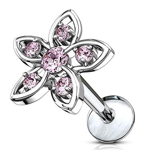 BlackAmazement Piercing trago Helix Labret Monroe Stud orecchio fiore strass zirconi CZ oro argento trasparente rosa donna e Acciaio inossidabile, cod. -