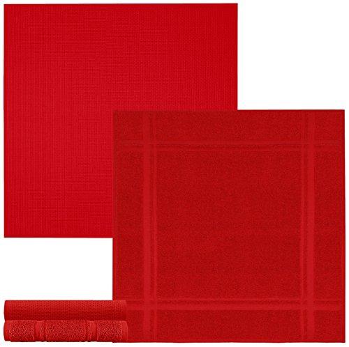 Lashuma 4er Set Geschirrtücher Chili Rot, 2 x Frottee Handtücher - 2 x Waffelpiqué, Robuste Abtrockentücher 50 x 50 cm