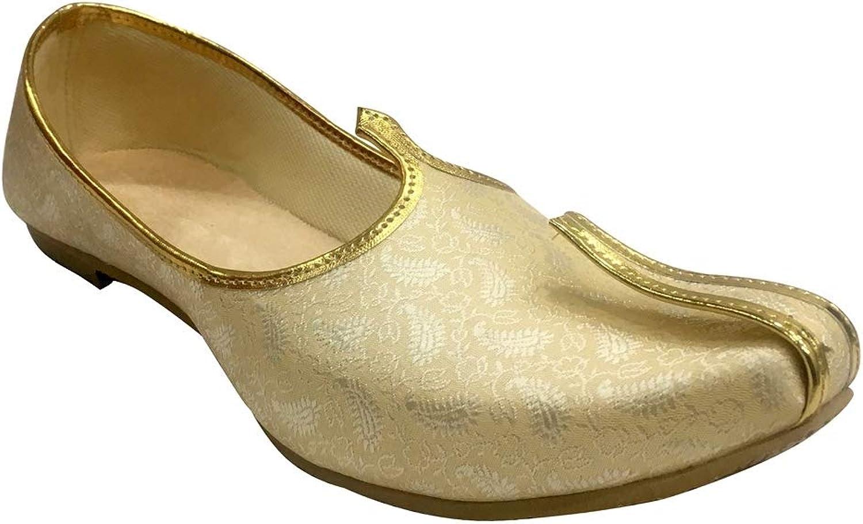 Step n Style Mens Cream gold Handmade shoes Sherwani shoes Achkan shoes Etnic Mojri Khussa Juti