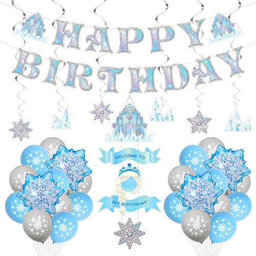 JeVenis 30 piezas congelado cumpleaños Banner congelado fiesta de cumpleaños suministros invierno Onederland fiesta suministros congelados decoración